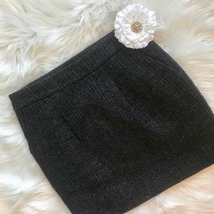 Ann Taylor Navy Blue Tweed Mini Skirt